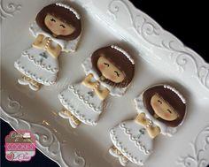 Girl My First Holy Communion, Chalice & Host, Crosses, Communion Girl, Communion Dress Cookies by www.cakesandcookiesbyclau.com