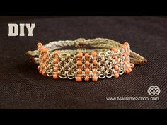 ▶ Easy Square Knot Bracelet with Beaded Lines [DIY] - YouTube