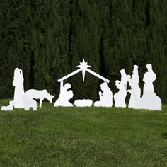 Silhouette White Outdoor Nativity Set - Full Scene by Outdoor Nativity Store