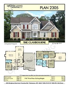 Greater Living Architecture in Rochester, NY provides premier home plans for any stage of life from Starter to Luxury to Empty Nester homes. House Plans 2 Story, Sims House Plans, Two Story Homes, House Floor Plans, The Plan, How To Plan, Architecture Plan, Residential Architecture, Pavilion Architecture