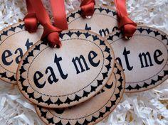 Eat Me Alice in Wonderland Vintage Gift Tag Label by ifiwerecards, $6.75