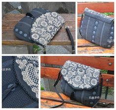 手工先染拼布包/材料包/木山春代MOLA蕾丝包/斜背包 Lace Bag, Japanese Bag, Fashion Bags, Messenger Bag, Applique, Satchel, Quilts, Embroidery, Purses