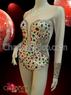 7a6933d146b8 Charismatico Dancewear Store - CHARISMATICO White Corset Illusion Silver sequin  Leotard with multiple color crystals ,