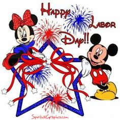 Labor Day Greetings Disney Characters, Fictional Characters, Minnie Mouse, Fall, Thanksgiving, Autumn, Fall Season, Thanksgiving Celebration, Fantasy Characters