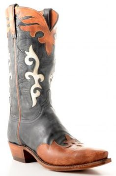 Men's Lucchese Destroyed Buffalo cowboy boots in black (via @Allens Boots)