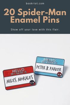 Who can resist these excellent Spider-Man enamel pins? The answer is no one.    spider-man | spiderr-man enamel pins | comic books | comic book pins | bookish enamel pins