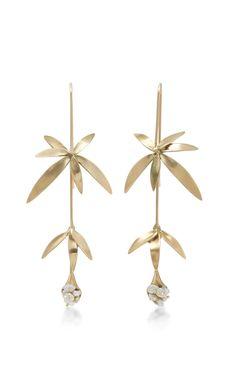 18K Gold Wildflower Earrings by ANNETTE FERDINANDSEN Now Available on Moda Operandi