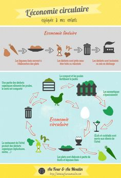 The circular economy explained to children - Linear economy and circular economy infographics - Sustainability Education, Save The World, French For Beginners, Circular Economy, Learning Italian, Teaching French, Sustainable Development, Learn French, French Language