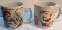 set of 2 vintage Santa Clauss coffee mugs / jeu de 2 tasses d antan, Père Noël