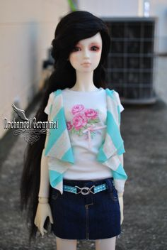 SD girl blue denim mini skirts optional add on by ResinAristocracy
