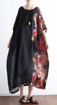 2017 black prints silk dresses plus size sundress patchwork short sleeve