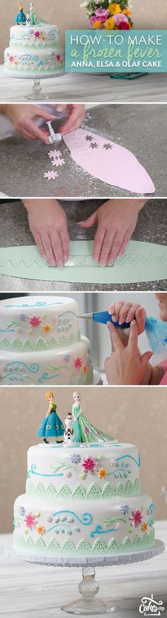 Celebrate with Anna, Elsa and Olaf Anna and Elsa have a new summer look, and now you can make a summertime Frozen cake design to match. Get creative by painting details on fondant flowers, cutting out a patterned fondant border, and adding sparkle gel swirls around the sides of the cake. Top it off with exquisitely hand-painted gum paste figurines of Anna, Elsa and Olaf for a cake to help you celebrate the perfect day.
