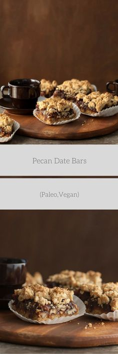 Pecan Date Bars Recipe (Paleo, Vegan) - Sweet date caramel and roasted pecans are sandwiched between layers of crisp and crumbly dough in these paleo and vegan date squares.