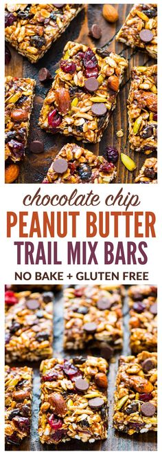 Trail Mix Peanut Butter Granola Barsare chewy no bake granola bars with chocolate chips, oatmeal, and honey. An easy, no bake granola bar recipe that's perfect for healthy breakfasts and snacks. #nobake #snacks #healthysnacks #trailmix