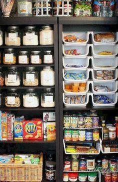 New Smart DIY Kitchen Organizing Ideas – Creative Bookshelf Organization, Small Kitchen Storage, Kitchen Organization Pantry, Kitchen Pantry, Organization Hacks, Organizing Ideas, Organized Pantry, Kitchen Organizers, Pantry Closet