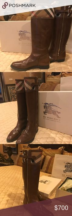 Burberry brown riding boots Excellent condition. Worn once. Burberry Shoes Winter & Rain Boots