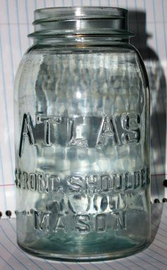 ATLAS Strong Shoulder Mason Jar Emerald Green Quart Jar with Zinc porcelain Lid Quart Jar, Vintage Bottles, Emerald Green, Mason Jars, Porcelain, Container, Strong, Shoulder, Ebay