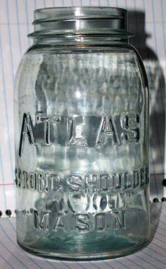 ATLAS Strong Shoulder Mason Jar Emerald Green Quart Jar with Zinc porcelain Lid