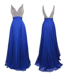 Cute rhinestone corset and strap royal blue chiffon formal pageant formal gowns 2014 junior, senior prom dress