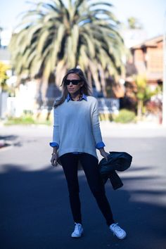 Sweater + denim + skinnies + converse