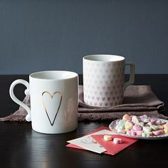 (already thinking ahead for Valentine's Day) Heart Mugs #WestElm
