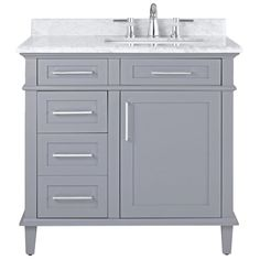 Home Decorators Collection Sonoma 36 in. W x 22 in. H Vanity in Pebble Grey with Natural Marble Vanity Top in White with White Basin 8105100240 at The Home Depot - Mobile Marble Vanity Tops, Bathroom Vanity Tops, Bath Vanities, White Bathroom, Small Bathroom, Master Bathroom, Marble Top, Bathroom Ideas, Paint Bathroom