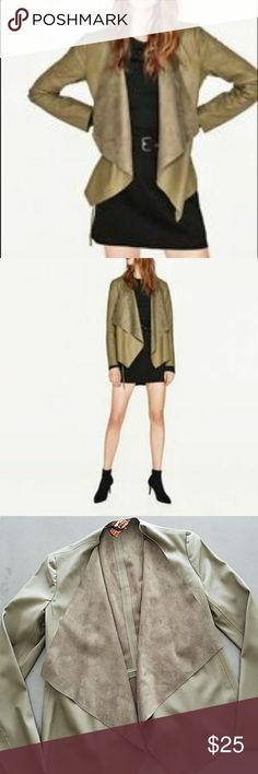 Zara Basic Waterfall Jacket Vegan faux leather jacket with asymmetrical flowing lapels and long sleeves in a gorgeous wear-with-everything khaki green. Open front. Like new from Zara, recently dry cleaned, size XS. Zara Jackets & Coats
