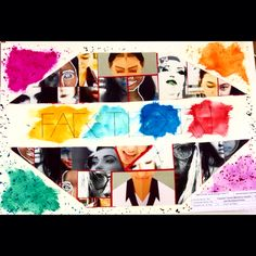 "Collage of pics mixed with paints -Art igcse ""face to face"""