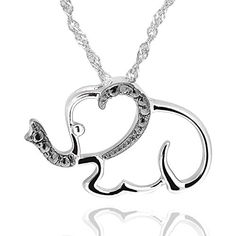 Sterling Silver Diamond Accent Elephant Pendant Necklace 18 Chain ** Details can be found by clicking on the image.