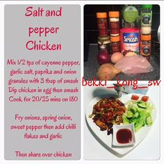 Salt and pepper chicken slimming world FakeAway Slimming World Cake, Slimming World Treats, Slimming World Dinners, Slimming World Syns, Slimming World Recipes, Slimming Eats, Chicken Stuffed Peppers, Stuffed Sweet Peppers, Chicken Rice