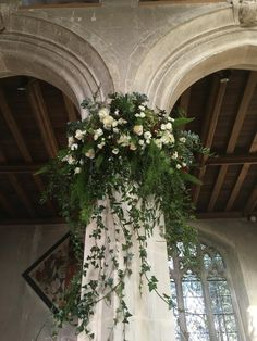 Tops Of The Pillars Dressed With Swags Wedding Columns, Church Wedding Flowers, Church Wedding Decorations, Bridal Flowers, Ceremony Decorations, Flower Bouquet Wedding, Floral Wedding, Church Flower Arrangements, Floral Arrangements