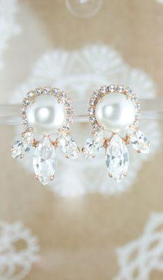 Bridal earrings   Pearl bridal earrings   statement earrings    crystal earrings   wedding jewelry   www.endorajewellery.etsy.com