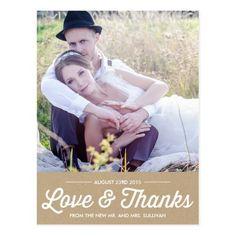 SHABBY CHIC | PHOTO WEDDING THANK YOU POSTCARD