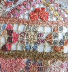 """Oh my my, a riot of different patterns and tonic colors ! Linen, hand crocheted Reticella scarf by Sophie Digard. 11"""" x 54"""".    $270.00"""