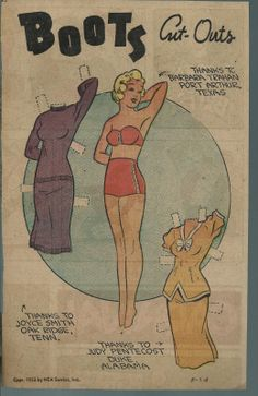 5-24-53 Boots paper doll / eBay