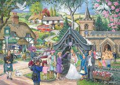 1000 Piece Jigsaw Puzzle - Find the Differences - 'Wedding Day' Art Village, Josephine Wall, Hidden Pictures, Art Pictures, Fashion Pictures, Gustav Klimt, Rembrandt, Art Des Gens, Wedding Album