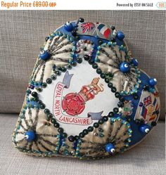 CIJ. Antique Sweetheart Cushion. Handmade World War 1 Large Heart Shaped Pin Cushion. North Lancashire Regiment. Wedding gift. Love Heart. by LittleVintageCharmCo on Etsy