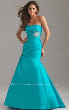 Strapless, one-piece glamorous prom gown is made of taffeta. Embellished bust area with corset closure. The dress is asymmetrically ruched at side and ornamented with beaded motifs. http://www.hothomecomingdresses.com/