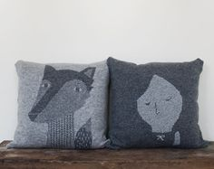 Decorative Pillow Wolf  soft knitted pillow  grey by ColetteBream, $79.00