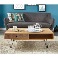 COLETTE Table basse scandinave - Décor chêne et impression vintage - 110x55 cm - Achat / Vente table basse COLETTE Table basse - Cdiscount
