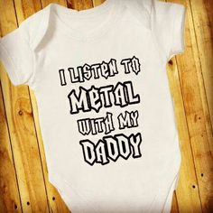 I Listen To Metal With Daddy, Mini Mosher, Kids Rocker Top, Baby Metalhead Outfit, Biker Family, Boys Girls Bodysuit/Babygrow,  Gift - pinned by pin4etsy.com
