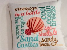 Nautical Word Pillow  Embroidered pillow  by JulieButlerCreations