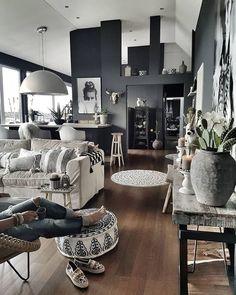 Scandinavian boho interior #blackwall #bohostyle #bohemian #decor #decoracion #bohohome