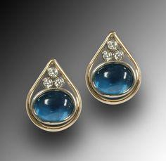 14K gold and diamonds indicolite tourmaline earrings