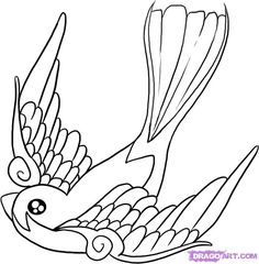 Sparrow Tattoo Designs | How to Draw a Swallow, Step by Step, Birds, Animals, FREE Online ...