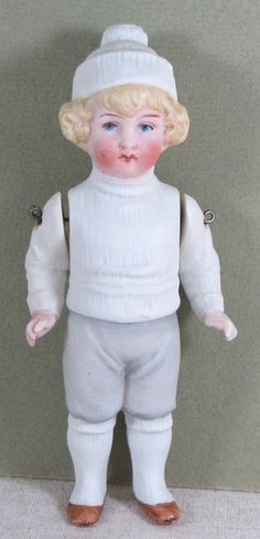 """Lovely 5 3/4"""" Early Hertwig Boy with Molded Winter Clothes from aquietplace on Ruby Lane"""