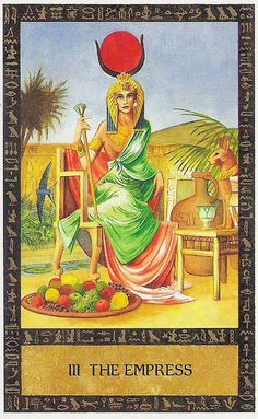 The Goddess HetHert (Hathor) as the Empress in Clive Barrett's Ancient Egyptian tarot deck.