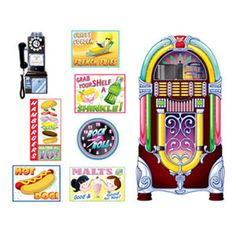 Soda Shop Signs & Jukebox Props Cutouts  Size: 28cm - 1.52 Metres 8 per pack See more at:http://partysuppliesanddecorations.com.au/soda-shop-signs-jukebox-props-cutouts-p-4987.html