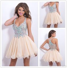 Cheap Homecoming Dresses - Discount 2014 Short Mini Halter V Neck Champagne Beads Crystal Rechinestone Organza Piping Sheer Back Princess Ruffles Tiers Party Homecoming Dresses Online with $140.98/Piece | DHgate