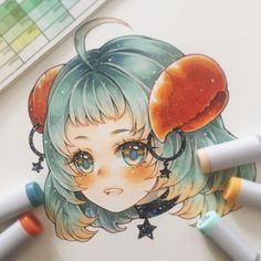 Cancer Giving me crab cravings every time xD . Zodiac charms preorder is up on my Storenvy! Link to shop in bio Thank you for the amazing support on this original series >w< Copic Drawings, Kawaii Drawings, Cute Drawings, Anime Drawing Styles, Manga Drawing, Manga Art, Pretty Art, Cute Art, Desenhos Halloween